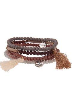leslii armbandset met natuurstenen (set, 5-delig) bruin