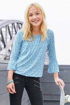 kidsworld shirt met carmenhals met ruime hals blauw