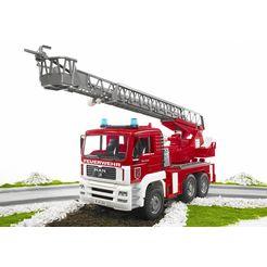 bruder brandweerwagen man met draaibare ladder rood