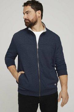 tom tailor men plus lang sweatshirt »sweatjacke mit stehkragen« blauw