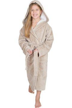 wewo fashion kinderbadjas 8521 met softtouch (1 stuk, met riem) beige