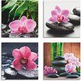 artland artprint op linnen orchidee zensteen druppel spa concept (4 stuks) roze