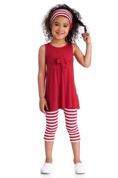 set: jurk, legging en haarband, kidoki rood