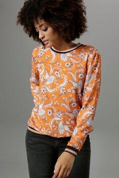 aniston selected shirtblouse met sportieve ribboorden - nieuwe collectie oranje