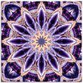 artland print op glas mandala ster paars (1 stuk) paars