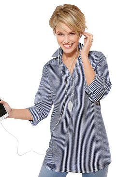 classic basics blouse met overhemdkraag blauw