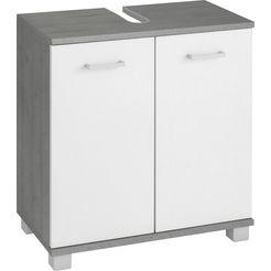 schildmeyer wastafelonderkast mobes breedte x hoogte: 59,8x62,4 cm, badkamerkast met dubbele deur, algemene tussenbodem, uitsparing voor afvoerleiding wit