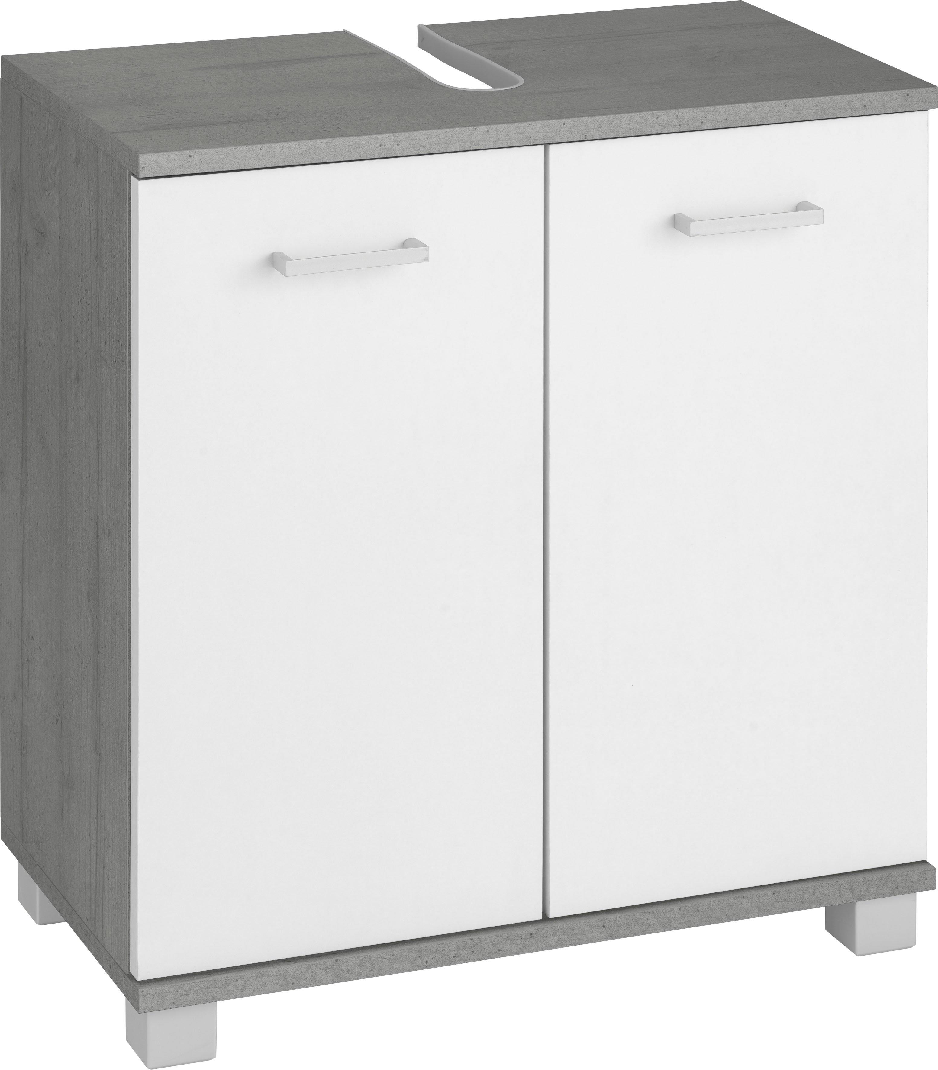 Schildmeyer wastafelonderkast Mobes Breedte x hoogte: 59,8x62,4 cm, badkamerkast met dubbele deur, algemene tussenbodem, uitsparing voor afvoerleiding - gratis ruilen op otto.nl