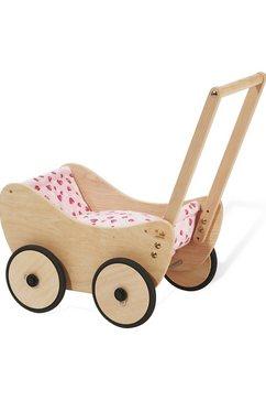 pinolino poppenwagen trixi - hartjes van hout met beddengoed; made in europe beige