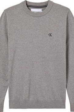 calvin klein gebreide trui »monogram chest logo cn sweater« grijs