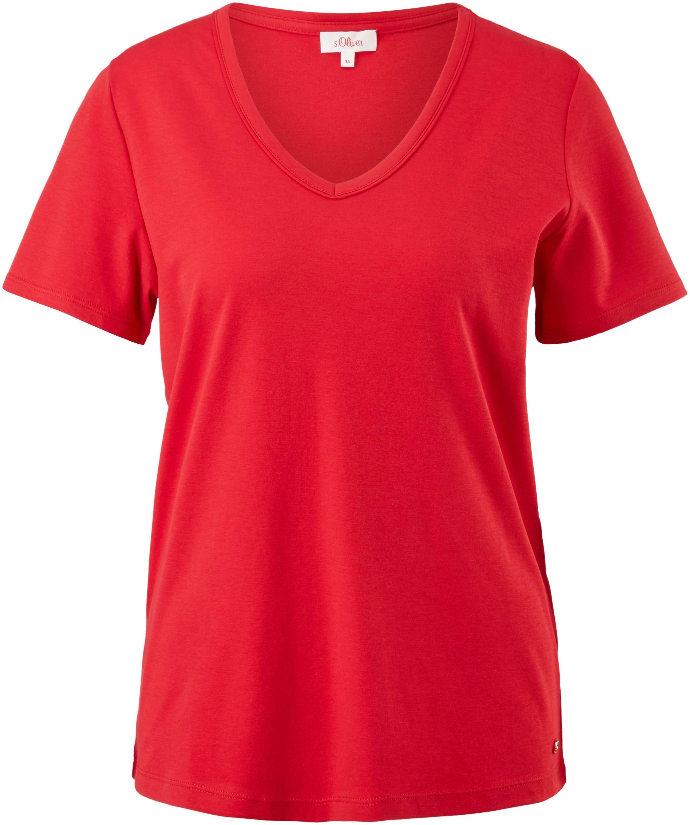 s.Oliver T-shirt met v-hals en omgestikte zoom - gratis ruilen op otto.nl