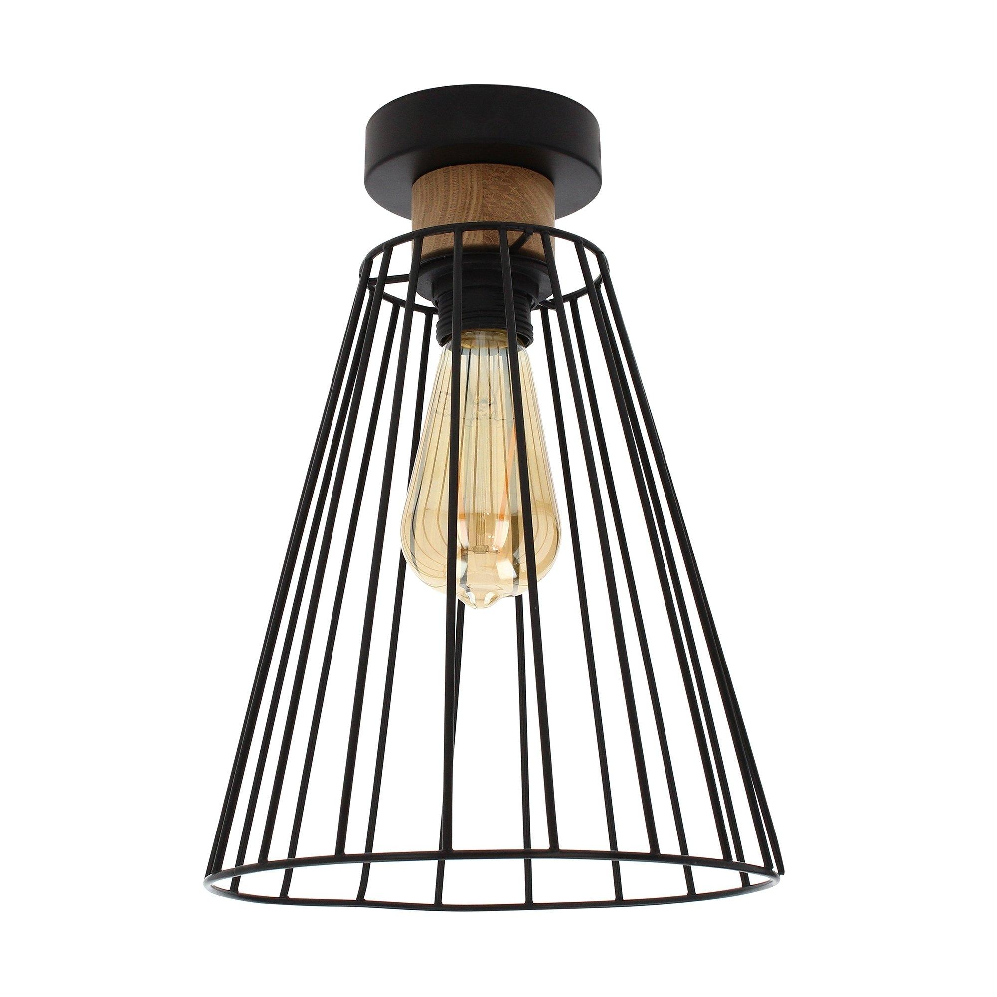 SPOT Light plafondlamp GUNNAR Moderne kooi-look, van metaal en eikenhout, bijpassende LM E27 / exclusive, Made in Europe goedkoop op otto.nl kopen