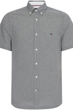 tommy hilfiger overhemd met korte mouwen slim crepe gingham shirt zwart