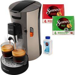 senseo koffiepadautomaat select csa240-30, inclusief gratis toebehoren ter waarde van € 14,- grijs