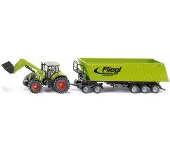 siku speelgoed-tractor siku farmer, claas axion 850 met dolly en kiepauto groen