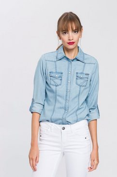 arizona jeansblouse met drukknopen in parelmoer-look en omslagmouwen blauw