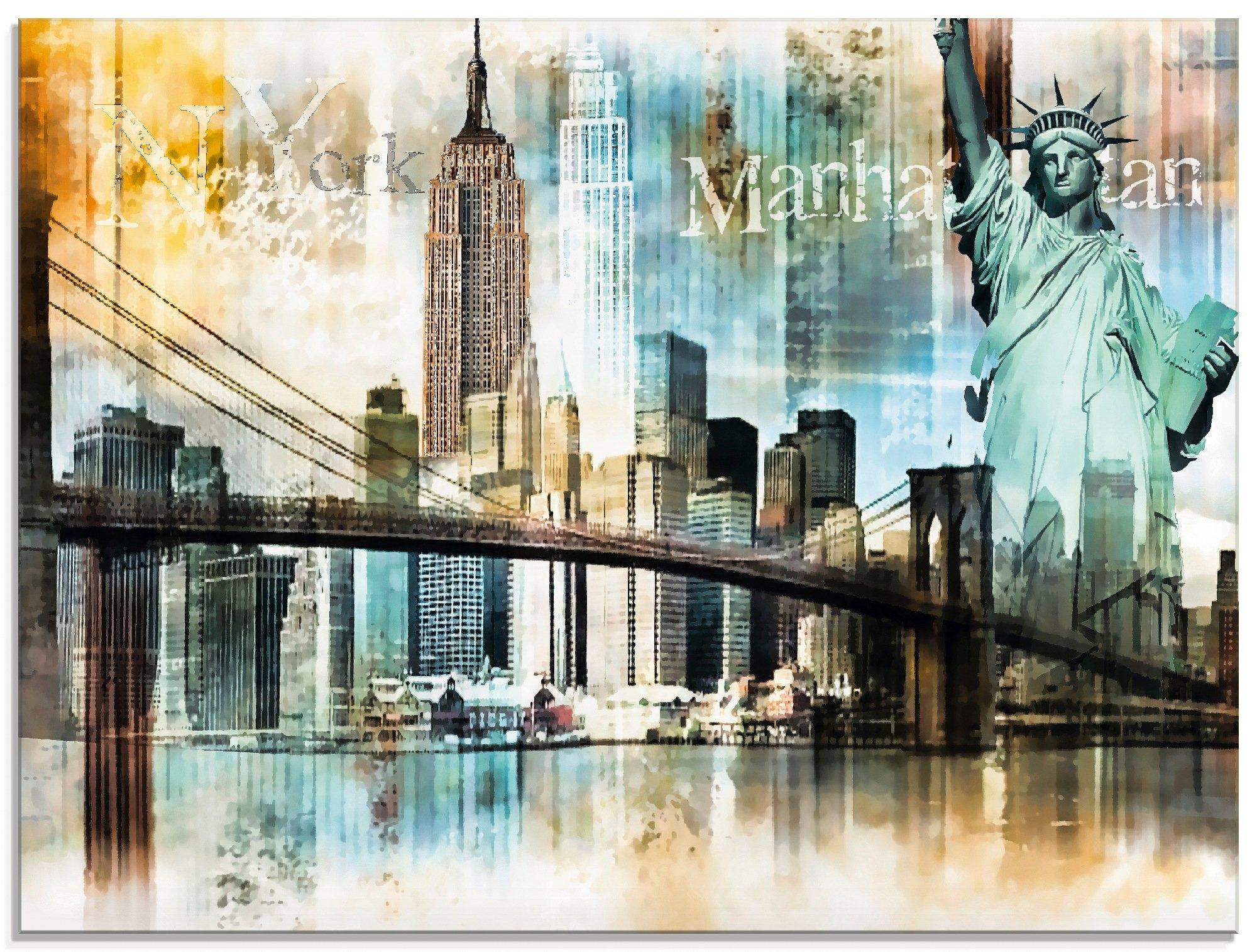 Artland print op glas New York skyline abstracte collage (1 stuk) goedkoop op otto.nl kopen