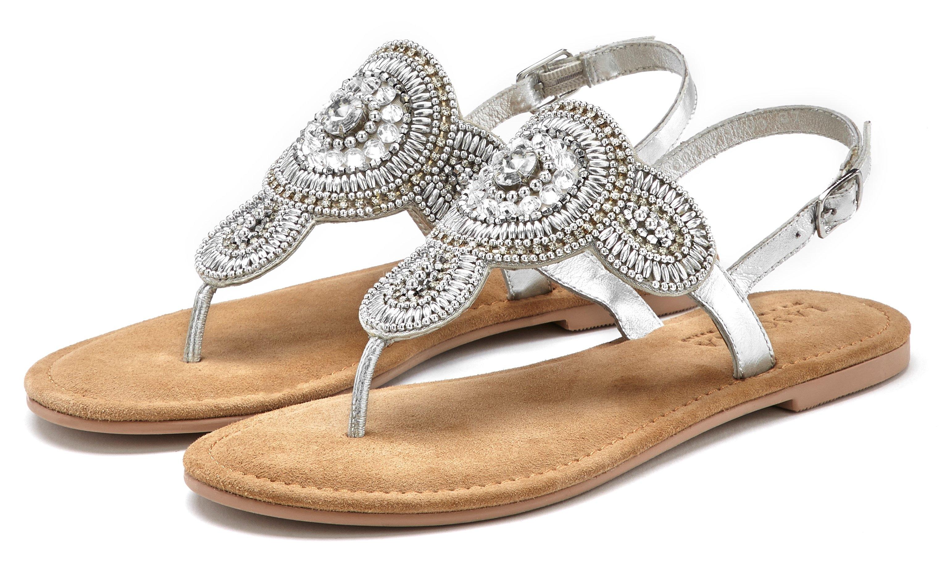 Lascana teenslippers Sandalen met een luxueuze garnering en zachte leren binnenzool nu online bestellen