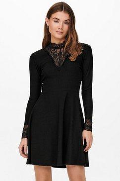 only kanten jurk onlnella l-s lace mix zwart