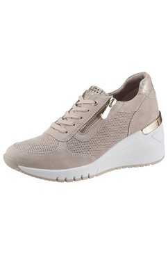 marco tozzi sneakers met sleehak met snake-look bij de hiel beige