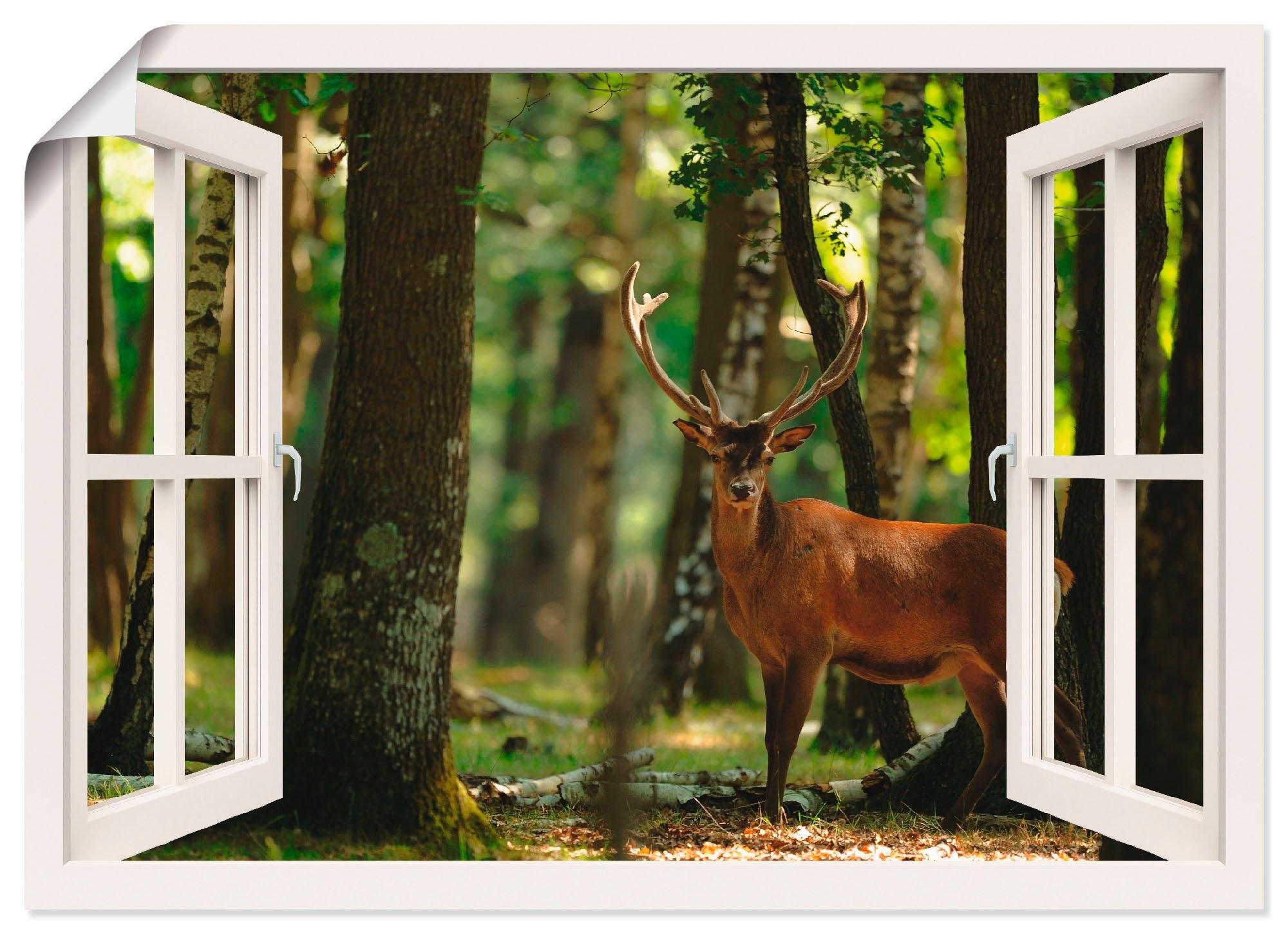 Artland artprint Blik uit het venster - edelhert 4 - bos in vele afmetingen & productsoorten -artprint op linnen, poster, muursticker / wandfolie ook geschikt voor de badkamer (1 stuk) bij OTTO online kopen