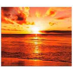 artland keukenwand schoener sonnenuntergang strand (1-delig) oranje