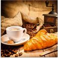 artland print op glas koffiekopje met croissant (1 stuk) bruin