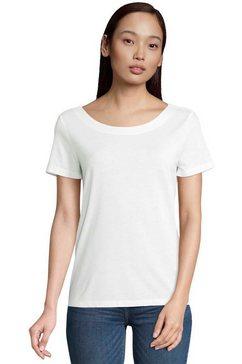 tom tailor shirt met ronde hals met v-hals en leuk ringdetail achter wit