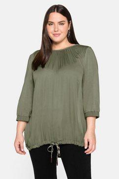 sheego shirt met 3-4-mouwen in a-lijn, met contrastkleurige bindstrik groen