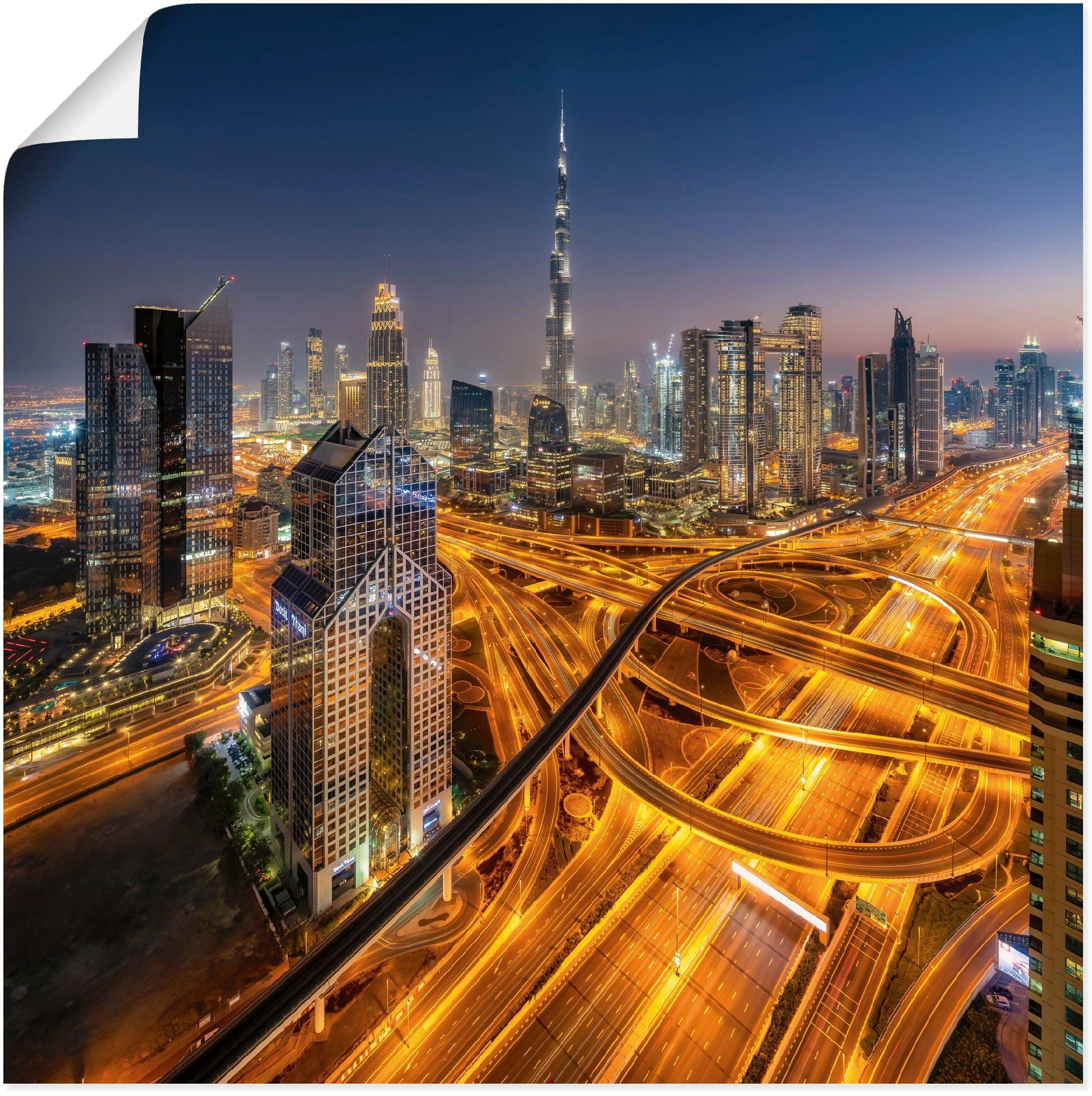 Artland artprint Skyline Dubai in vele afmetingen & productsoorten - artprint van aluminium / artprint voor buiten, artprint op linnen, poster, muursticker / wandfolie ook geschikt voor de badkamer online kopen op otto.nl