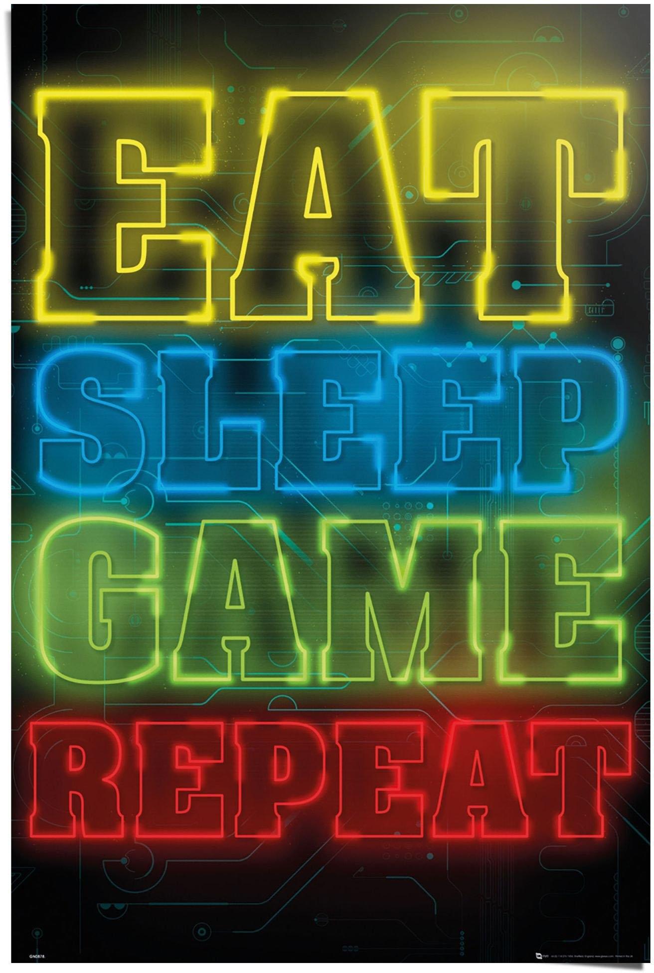 Reinders! poster gokken Eat sleep game repeat (1 stuk) veilig op otto.nl kopen