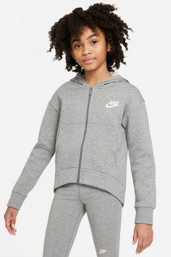 nike sportswear sweatvest g nsw club flc fz hoodie grijs