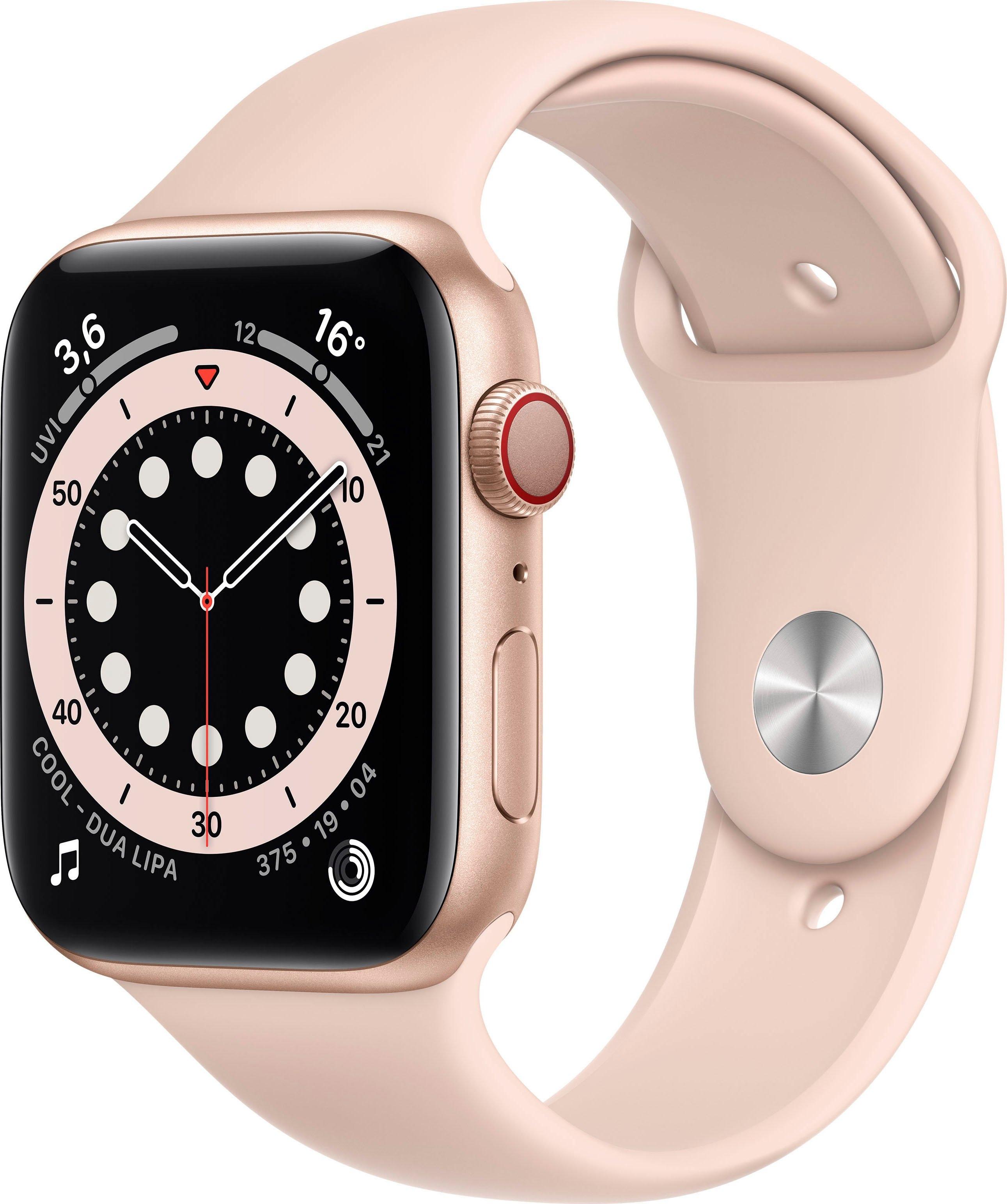 Apple watch Series 6 gps + Cellular, aluminium kast met sportbandje 44 mm inclusief oplaadstation (magnetische oplaadkabel) nu online bestellen