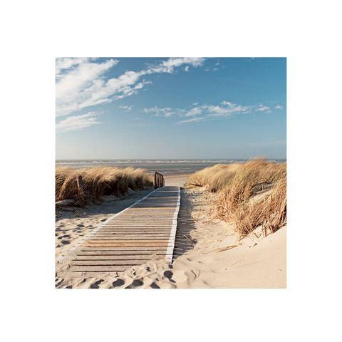 Glazen artprint, Artland, 'Noordzeestrand op Langeoog', in 3 afmetingen, vanaf afm. 30x30 cm