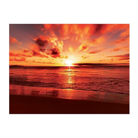 Glazen artprint, Artland, 'Beautiful tropical sunset on the beach', in 2 afmetingen, vanaf afm. 60x80 cm