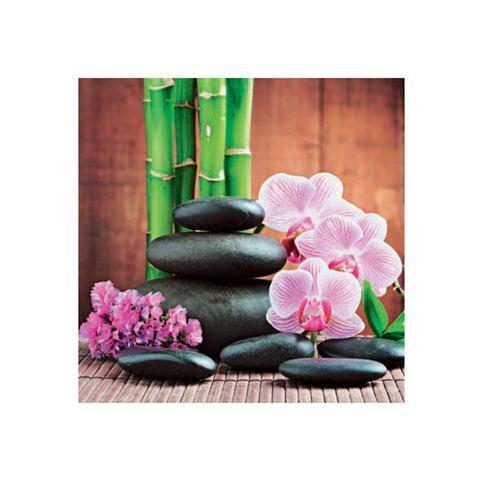 Glazen artprint, Artland, 'Spa concept with zen stones and orchid', in 3 afmetingen, vanaf afm. 30x30 cm