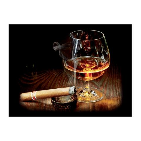 Glazen artprint, Artland, 'Cigar and Cognac', afm. 60x80 cm