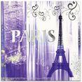 artland print op glas parijs skyline collage ii (1 stuk) paars