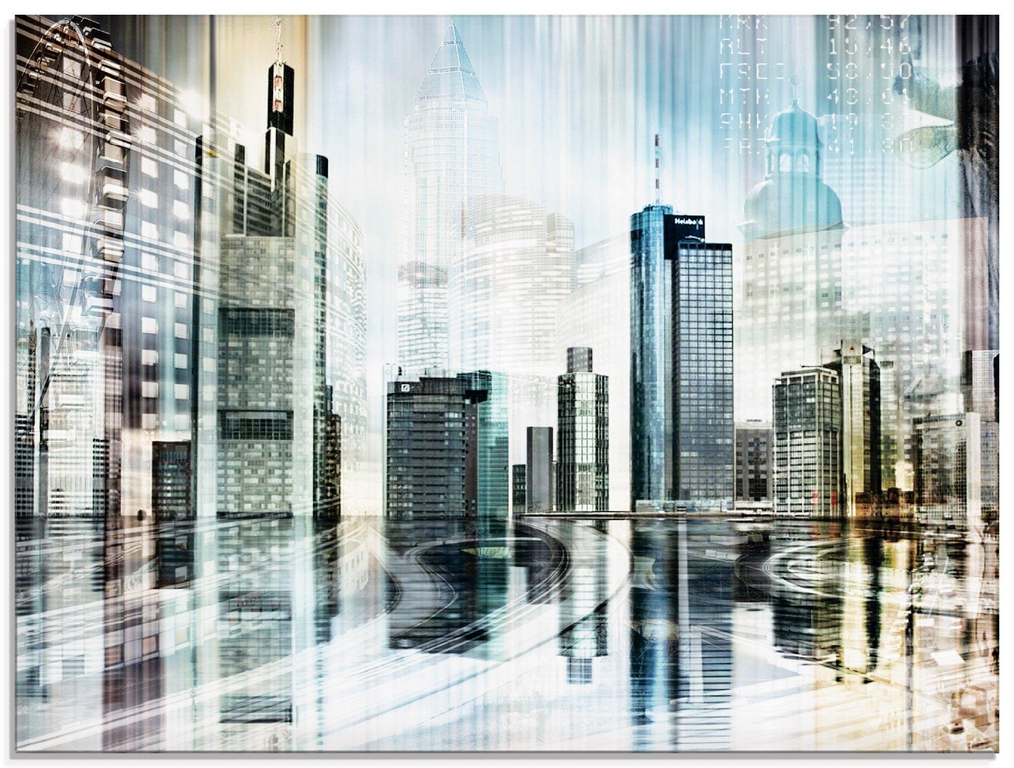 Artland print op glas Frankfurt skyline abstracte collage (1 stuk) bij OTTO online kopen