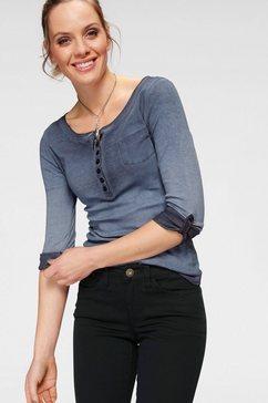 arizona shirt met lange mouwen »krempelaermel mit riegel« blauw