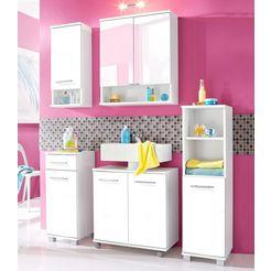 schildmeyer badkamerserie palermo met metalen handgrepen, verstelbare planken, deels aan te passen draairichting (set, 4-delig) wit