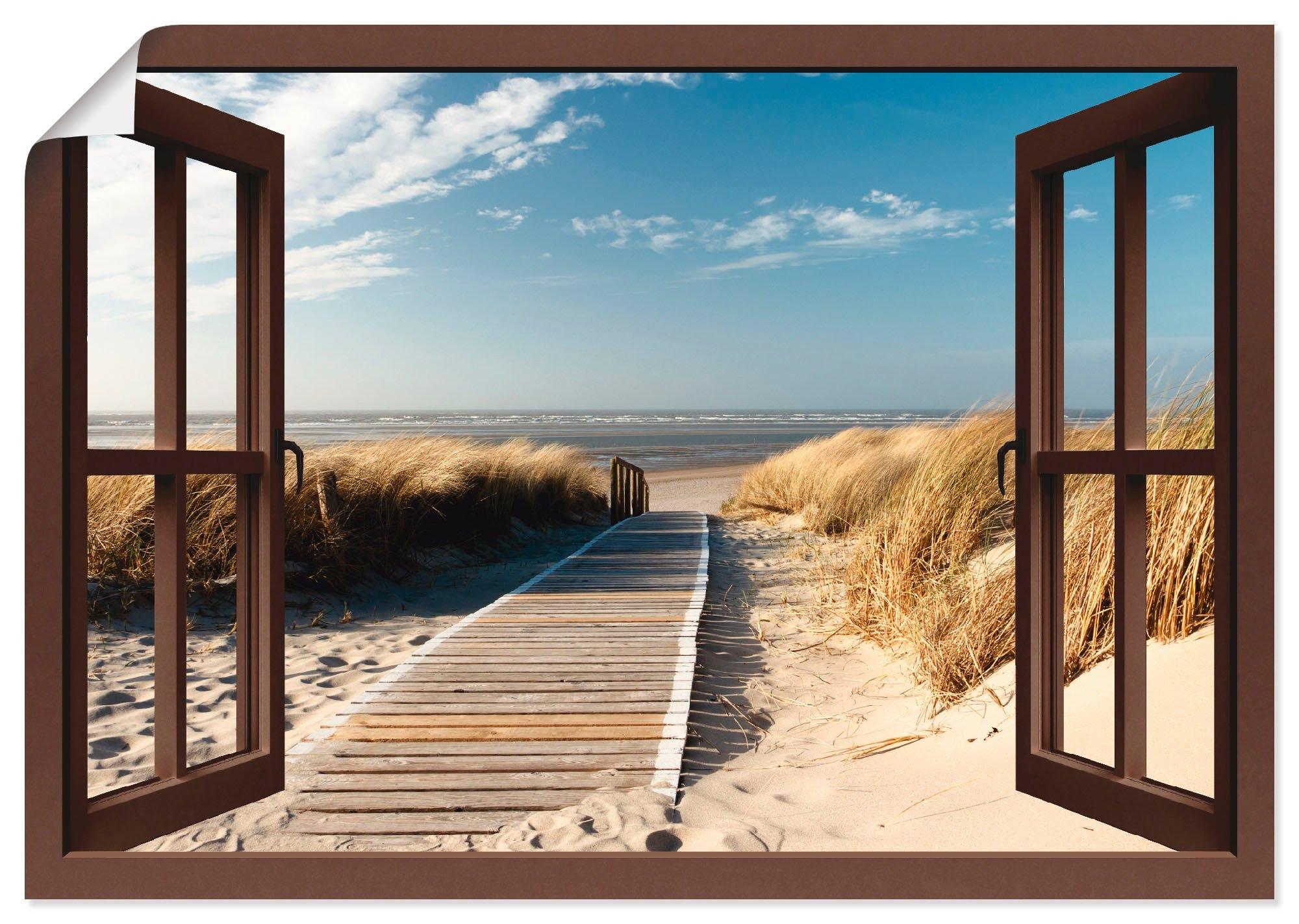 Artland artprint Blik uit het venster Noordzeestrand op Langeoog in vele afmetingen & productsoorten -artprint op linnen, poster, muursticker / wandfolie ook geschikt voor de badkamer (1 stuk) bestellen: 30 dagen bedenktijd