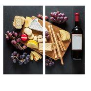 wall-art kookplaatdeksel keuken kookplaatafdekblad kaasplank (set, 2-delig) multicolor