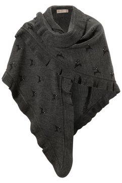 folklore-poncho met hertmotieven grijs