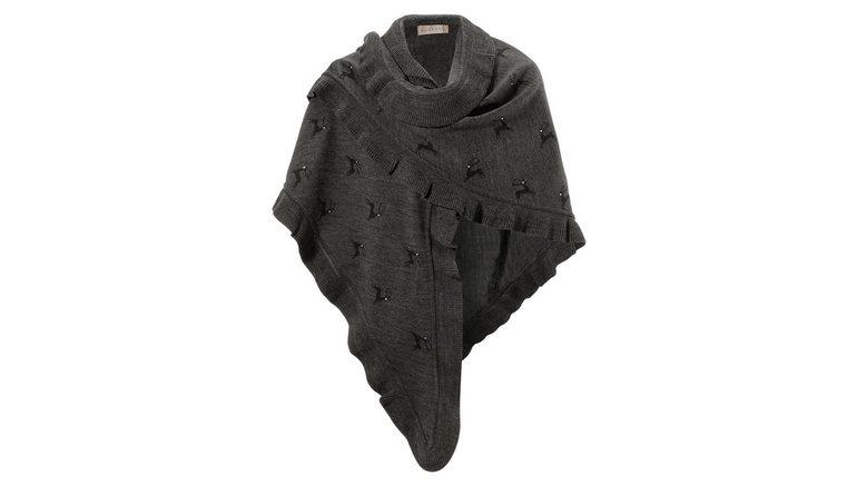 PURSET sjaal Folkloreponcho met een hertmotief en glinstersteentjes