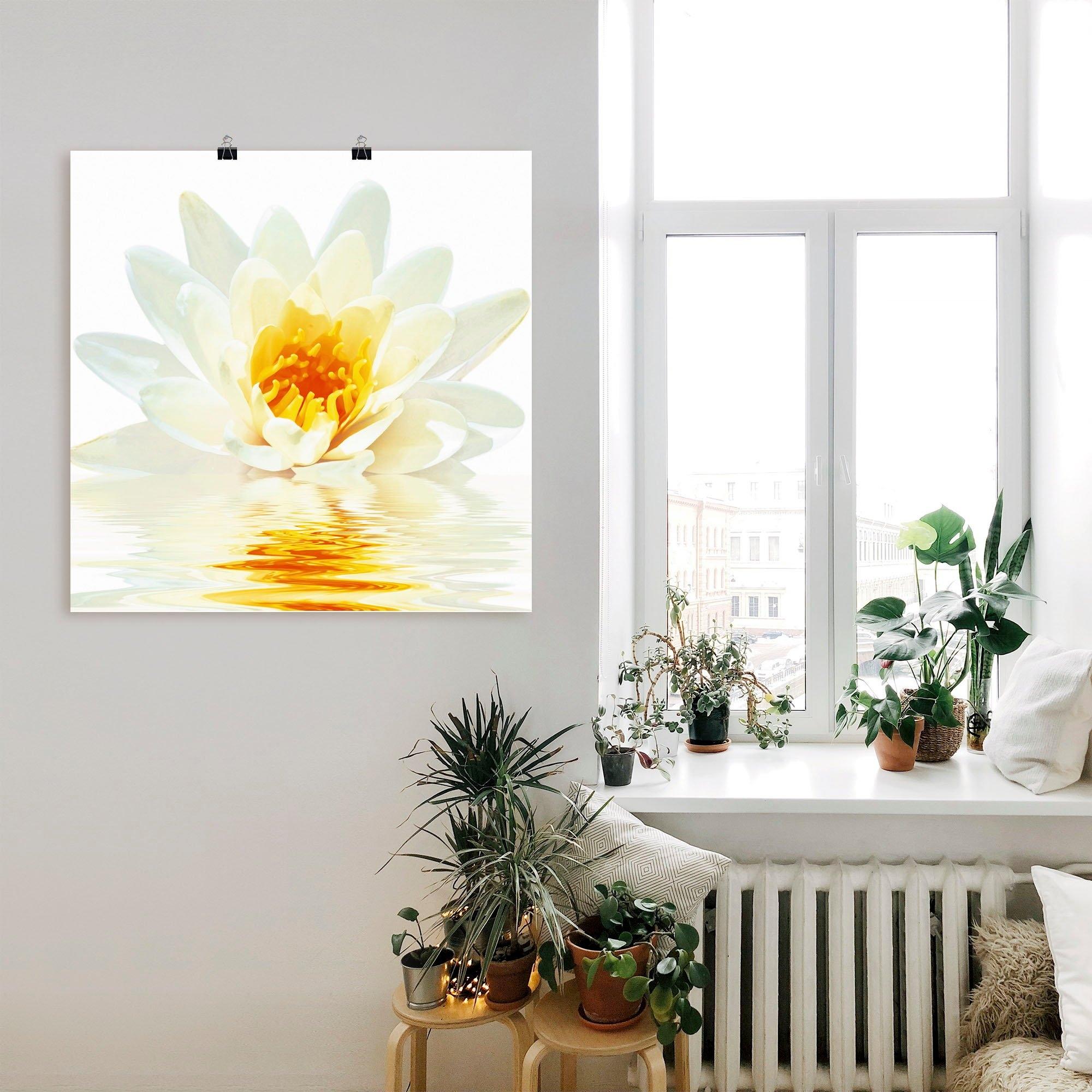 Artland Artprint Lotusbloem drijft op het water in vele afmetingen & productsoorten - artprint van aluminium / artprint voor buiten, artprint op linnen, poster, muursticker / wandfolie ook geschikt voor de badkamer (1 stuk) online kopen op otto.nl