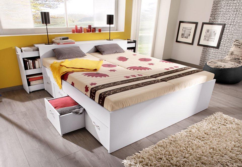 Bed met uittrekbare kast