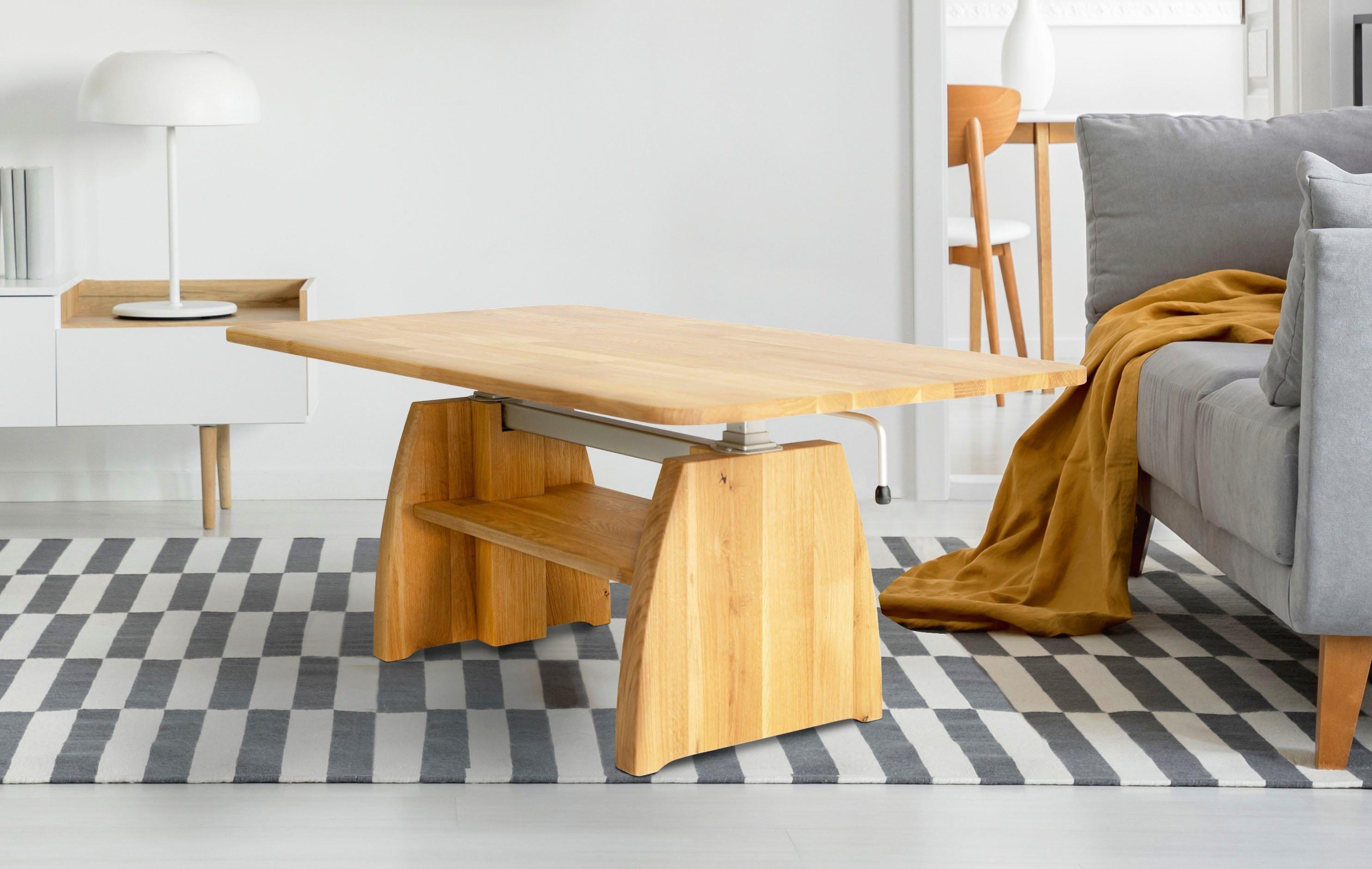 Home affaire salontafel Marco van massief geolied wildeiken, in hoogte verstelbaar van 47 op 66 cm voordelig en veilig online kopen