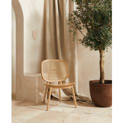 leger home by lena gercke stoel amy massief hout, rugleuning met rotaninzet beige