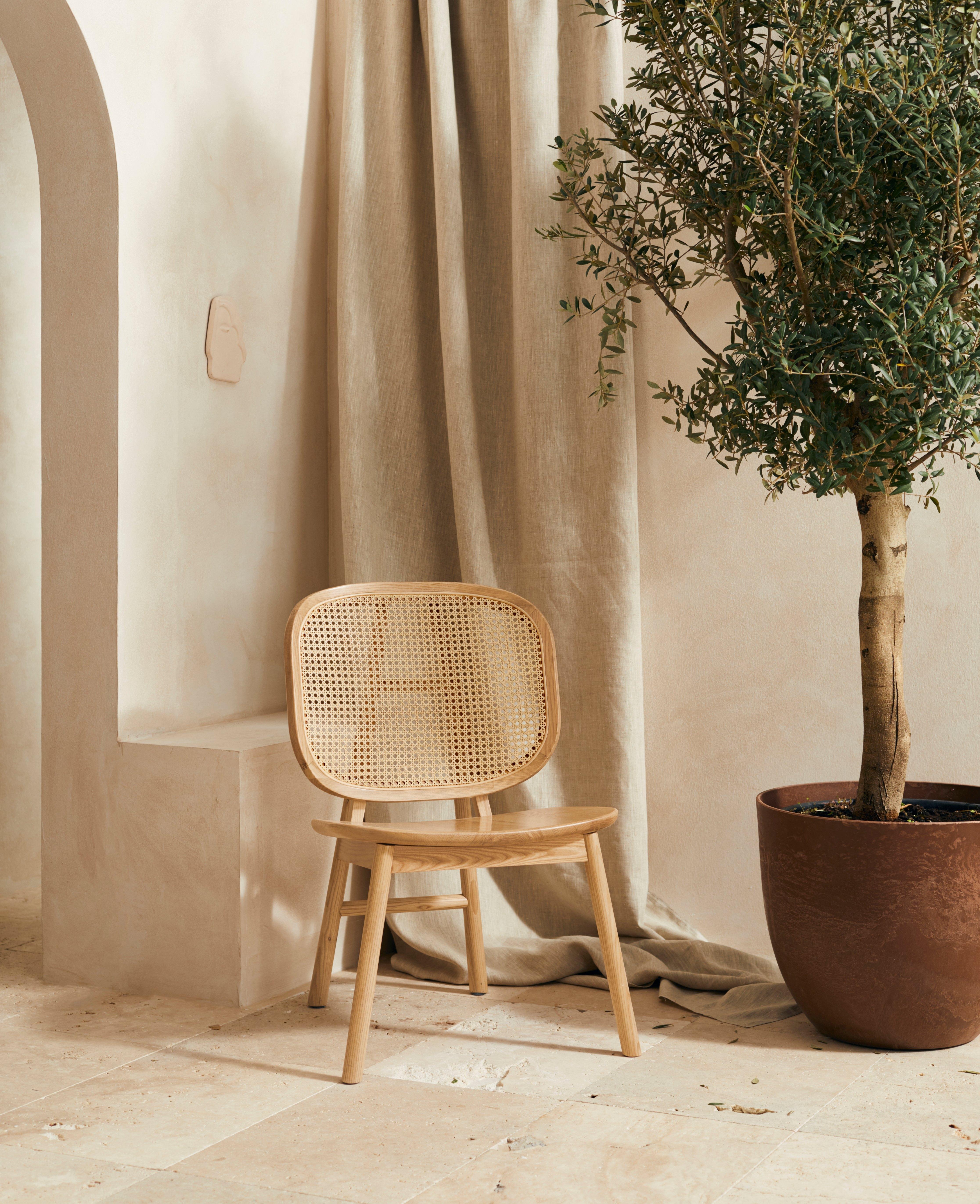 LeGer Home by Lena Gercke stoel AMY Massief hout, rugleuning met rotaninzet bestellen: 30 dagen bedenktijd